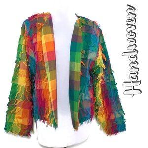 🌈 Vintage Crystal Handwoven Rainbow Plaid Fringe